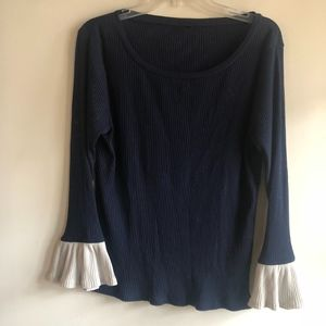 J Crew ribbed flare sleeve top